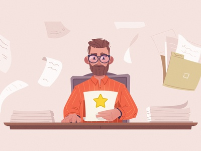 Paperwork illustrator documentation development work art character cartoon vector illustration