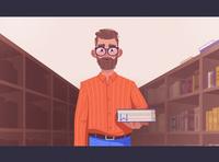 Library book developer glossary library art character cartoon vector illustration