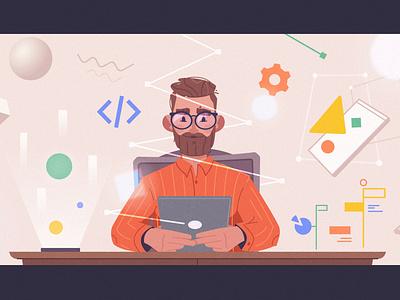 Coding development developer coding coder art character cartoon vector illustration