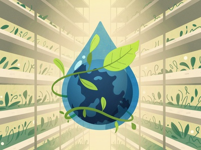 Water saving art plant earth saving global water farm cartoon vector illustration