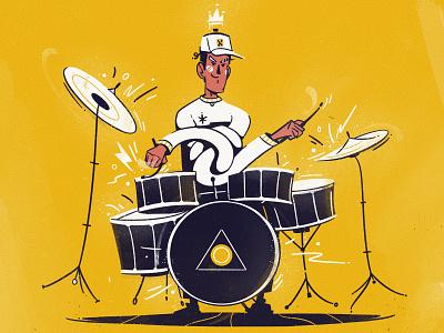 Drummer musician music drummer drum funny art character cartoon illustration