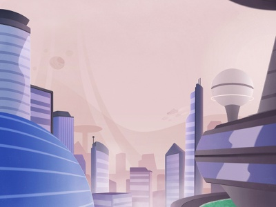 Environment downtown city futuristic tech future art design cartoon vector illustration