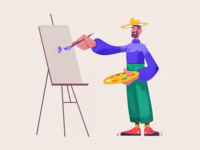 Artist artwork artist funny art design character cartoon vector illustration