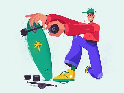 Skate skateboard skater funny art design character cartoon vector illustration