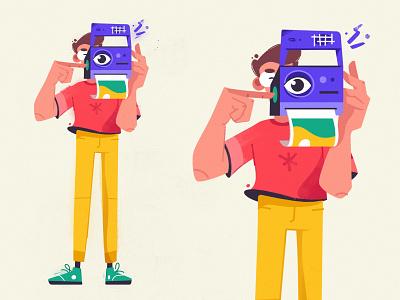 Shot photo character design art design character cartoon vector illustration