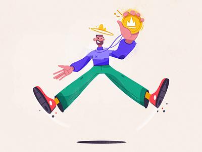Winner joy prize happy winner win funny art design character cartoon vector illustration