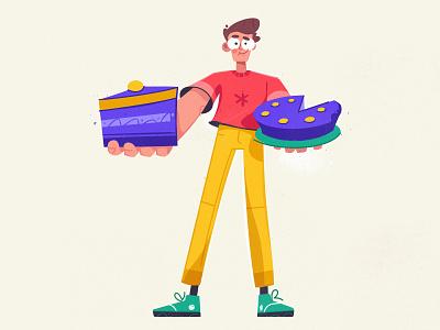 Piece of cake characterdesign dessert share procreate cake funny art design character cartoon vector illustration