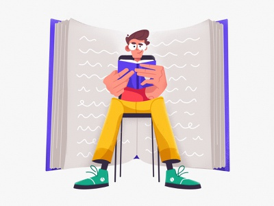 Reading reading illustrator procreate character design student study art design character cartoon vector illustration