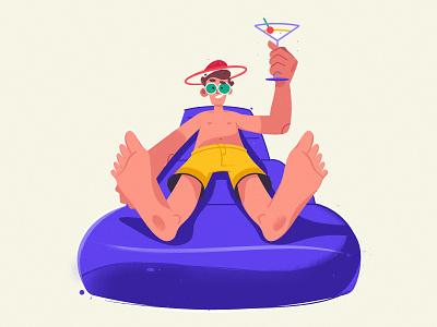 Weekend summer swimming pool weekend illustrator procreate flat funny art character cartoon vector illustration
