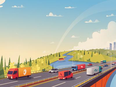 Bridge boat river bridge moskow highway road art design cartoon vector illustration