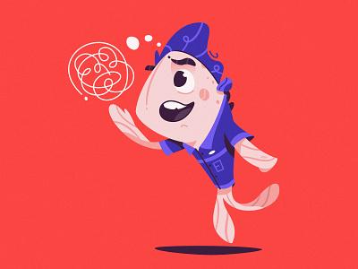 Open-minded archetype illustrator personality characteristic archetype salmone fish funny art design character cartoon vector illustration