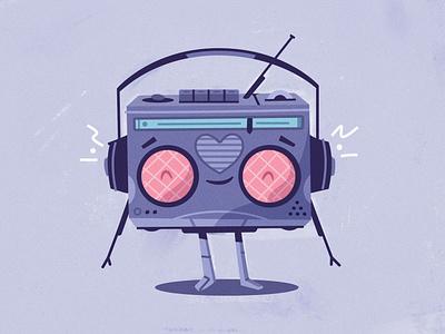 Lo-fi bot listen tape speaker radio robot headphones music lo-fi bot art character cartoon vector illustration