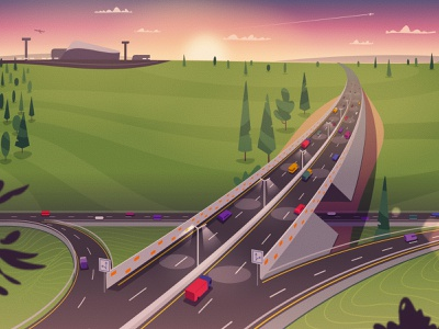 Highway illustrator landscape airport traffic car highway road art cartoon vector illustration
