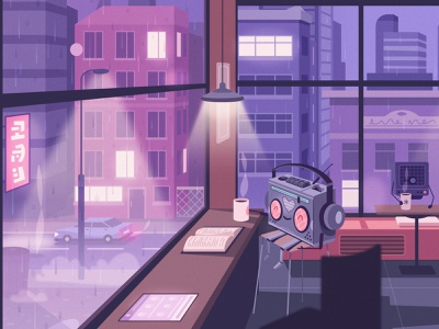 Lo-fi bot listens to music robot bot radio music lo-fi coffee rainy city illustrator art character cartoon vector illustration