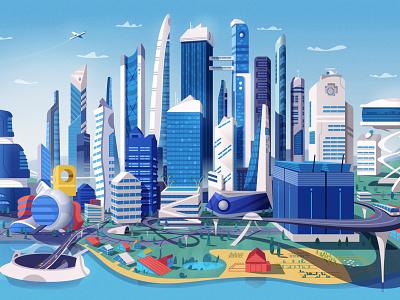 Skyline landscape transport skyscraper downtown skyline city vector illustrator art cartoon illustration