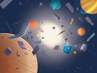 Space debris earth procreate problem pollution junk planet debris trash space art illustration