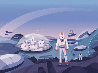 Planetary Exploration procreate astronaut explore mars planet space futuristic future art character cartoon vector illustration