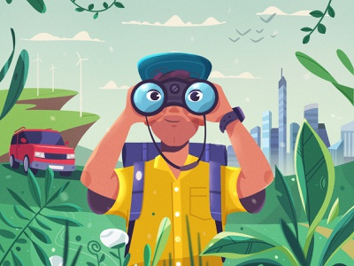 Explore binoculars characterdesign landscape procreate traveling travel car city nature art character vector illustration