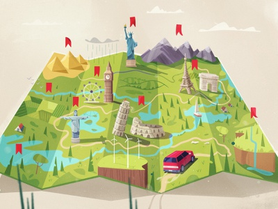Route procreate world landscape sight route road car travel map flat art cartoon vector illustration