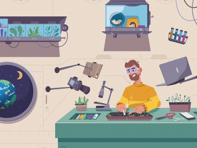 Science in Space plant scientist space science tech character design flat art character cartoon vector illustration