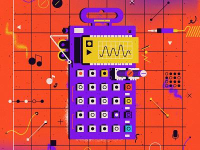 Pocket Operator musician geek electronic grid analog music design art vector illustration