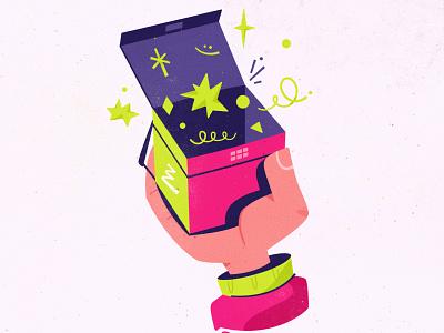 Magic box illustrator procreate delivery magic box hand art cartoon vector illustration