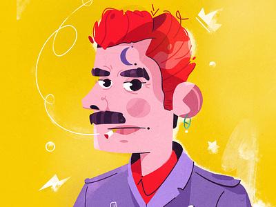 Badass procreate illustrator artist rock smoking redhair badass art character illustration
