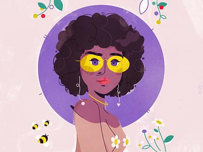 Flower girl 🌼 glasses nature illustrator characterdesign girl wildflowers afro flower character illustration