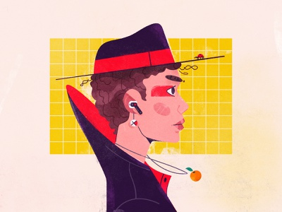 Ladybug on the hat illustrator future woman girl hat art character illustration