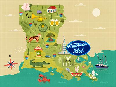 Map of Louisiana flat album music usa louisiana map design art character cartoon vector illustration