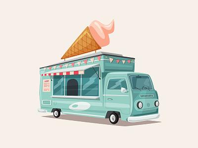 Sweets van truck sweet summer illustration food dessert children business van cartoon ice cream