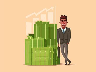 Rich businessman illustration success successful startup money character work business rich
