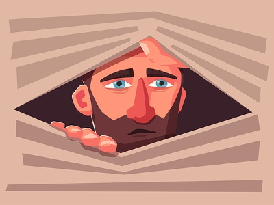 Man is looking out jalousie man sad character look sight art illustration