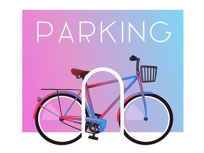 Bicycle parking vintage gradient vector illustration parking bicycle bike