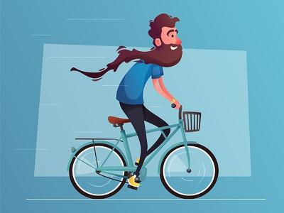 Ryde a bicycle beard vintage person vector illustration character bicycle bike
