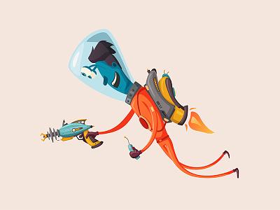 Alien with a jetpack astronaut jetpack gun vector character ufo alien