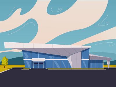 Modern architecture architecture modern landscape exterior design cartoon illustration vector