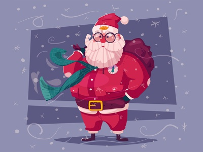 Santa with gifts happynewyear christmas santa funny cartoon illustration character vector