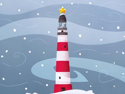 Decorated lighthouse decorated lighthouse holidays winter design cartoon illustration vector