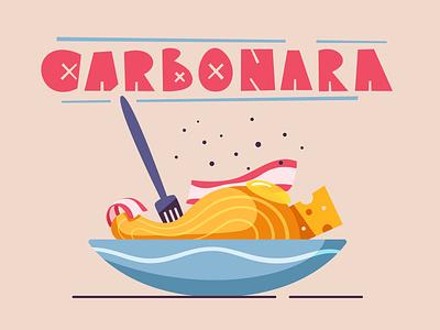 Italian cuisine   Carbonara cuisine pasta italian food design cartoon illustration vector