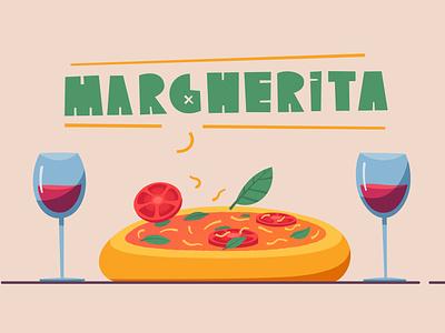 Italian cuisine   Margherita flat food pizza italian design cartoon illustration vector