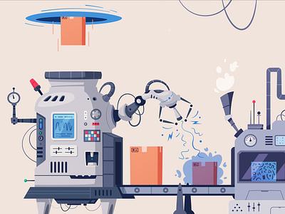 Futuristic conveyor box retrofuturism futuristic conveyor work cartoon illustration vector