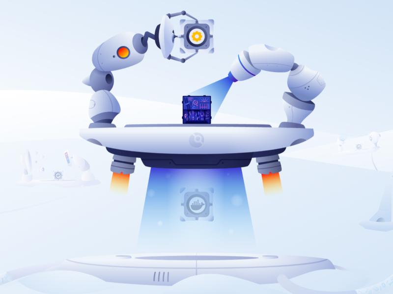 Drone   Main Page ui futuristic future drone robot design illustration vector