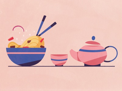Chinese cuisine wok chopsticks tea cup tea eating flat  design cuisine chinese china food flat design cartoon illustration vector