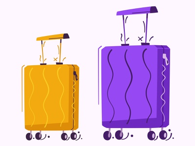 Luggage | Travel stickers summer holiday trip bag suitcase luggage travel design cartoon illustration vector