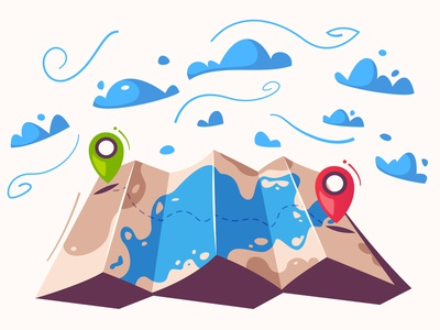 Journey trip journey pin location pin geo geo location location map flat design funny cartoon illustration vector