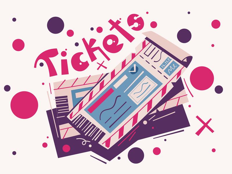 Tickets banner poster theatre movie stylized travel ticket typography logo art flat design funny cartoon illustration vector