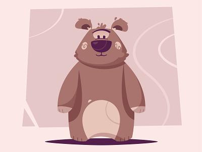 Bear character fluffy cute grizzly animal bear mascot flat design funny character cartoon illustration vector