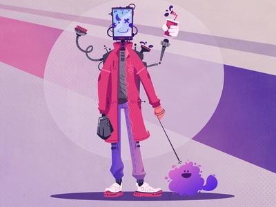 未来Future先行きმომავალიБудущееμέλλοντας. Cyborg with a dog