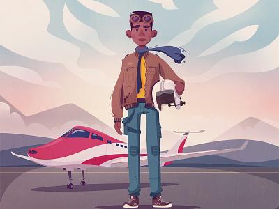 Pilot aviator airplane young jet pilot flight aircraft aviation retro vintage art design character cartoon illustration vector